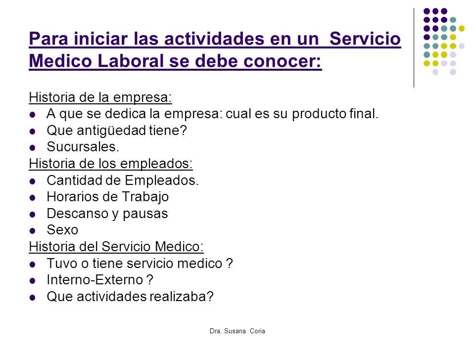 Para iniciar las actividades en un Servicio Medico Laboral se debe conocer: