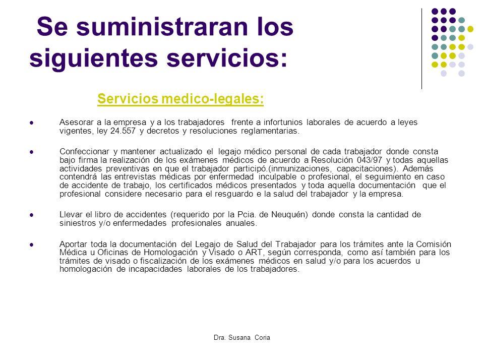 Se suministraran los siguientes servicios:
