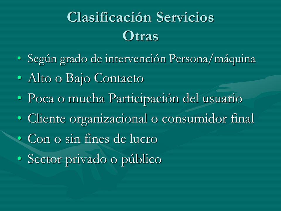 Clasificación Servicios Otras