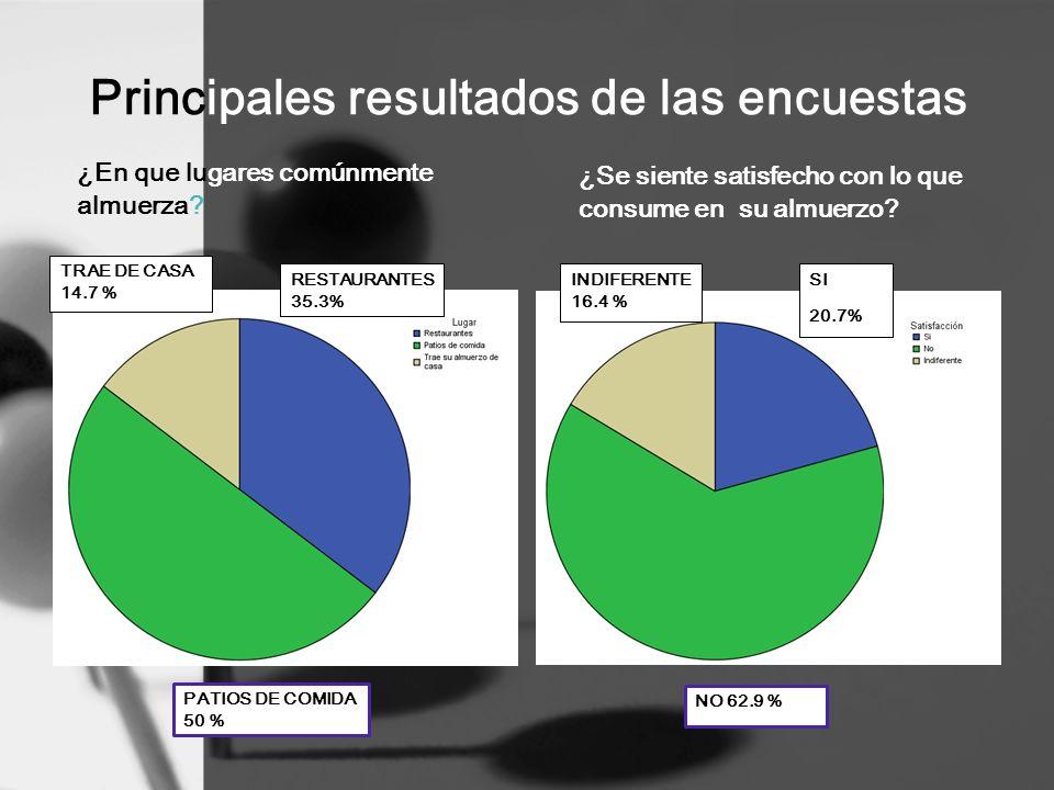 Principales resultados de las encuestas