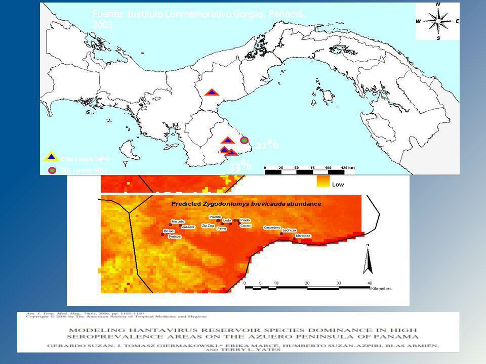 21% 16% 3% 33% Con casos SPH. Sin casos SPH. 43% Fuente: Instituto Conmemorativo Gorgas, Panamá, 2003.