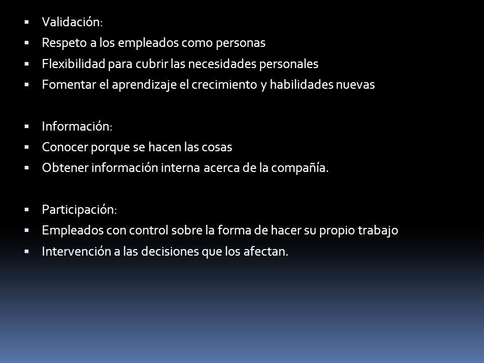 Validación: Respeto a los empleados como personas. Flexibilidad para cubrir las necesidades personales.