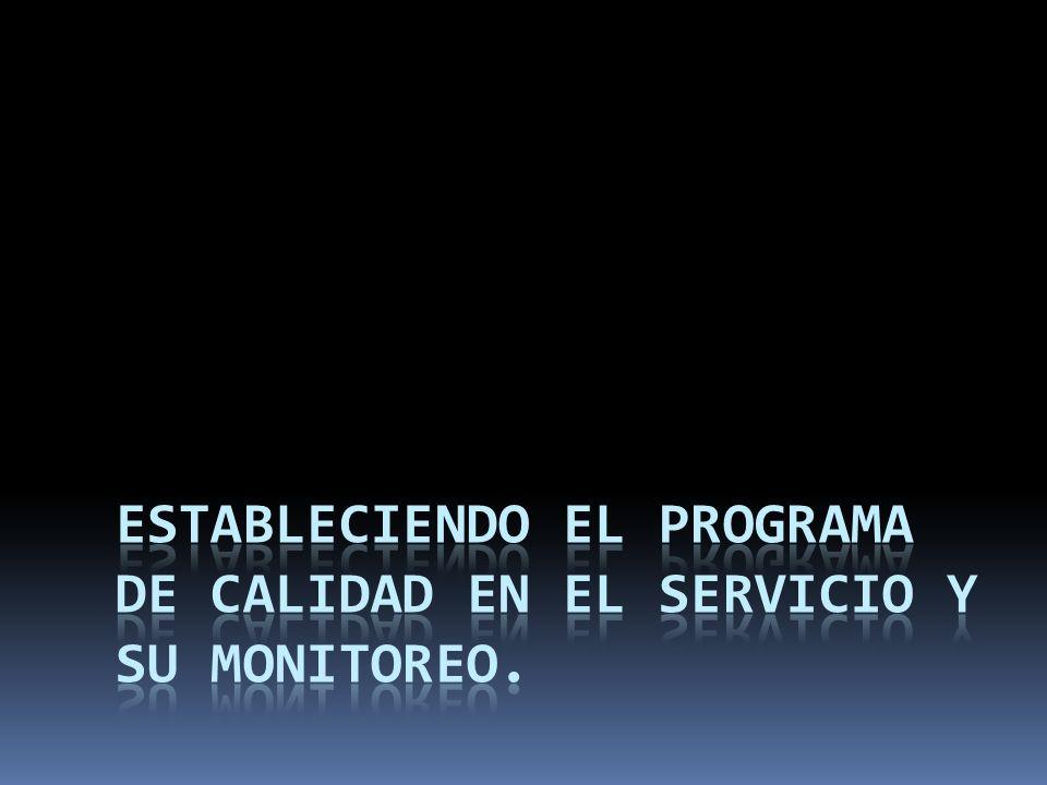Estableciendo el Programa de Calidad en el Servicio y su Monitoreo.