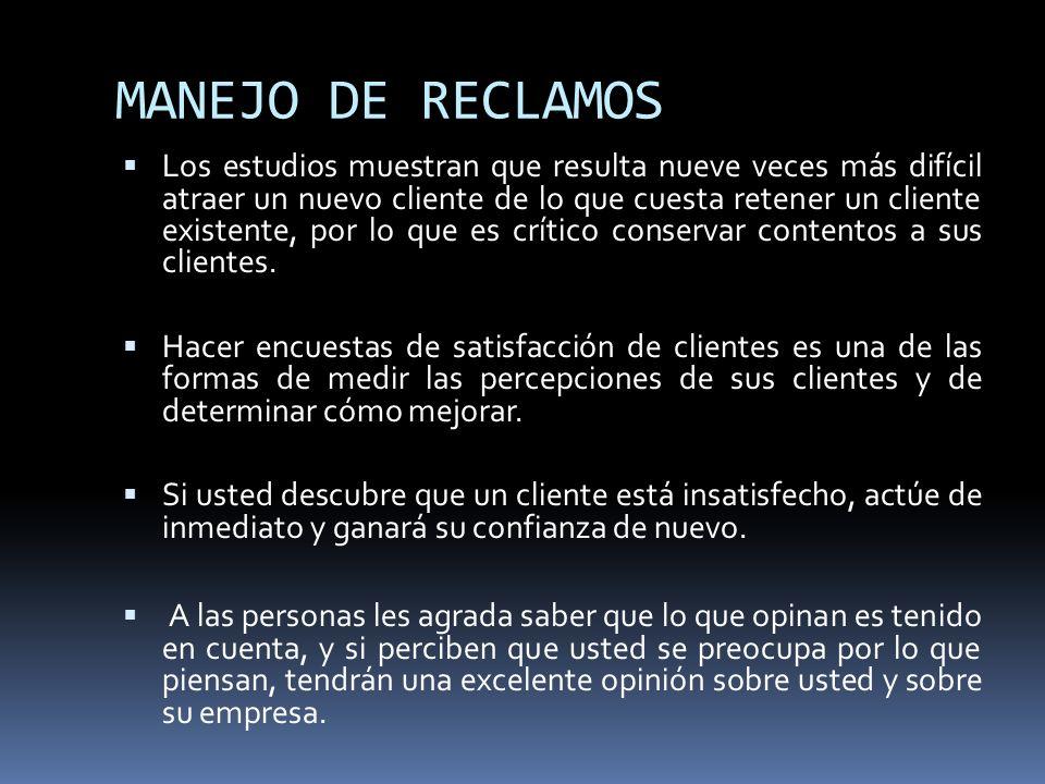 MANEJO DE RECLAMOS