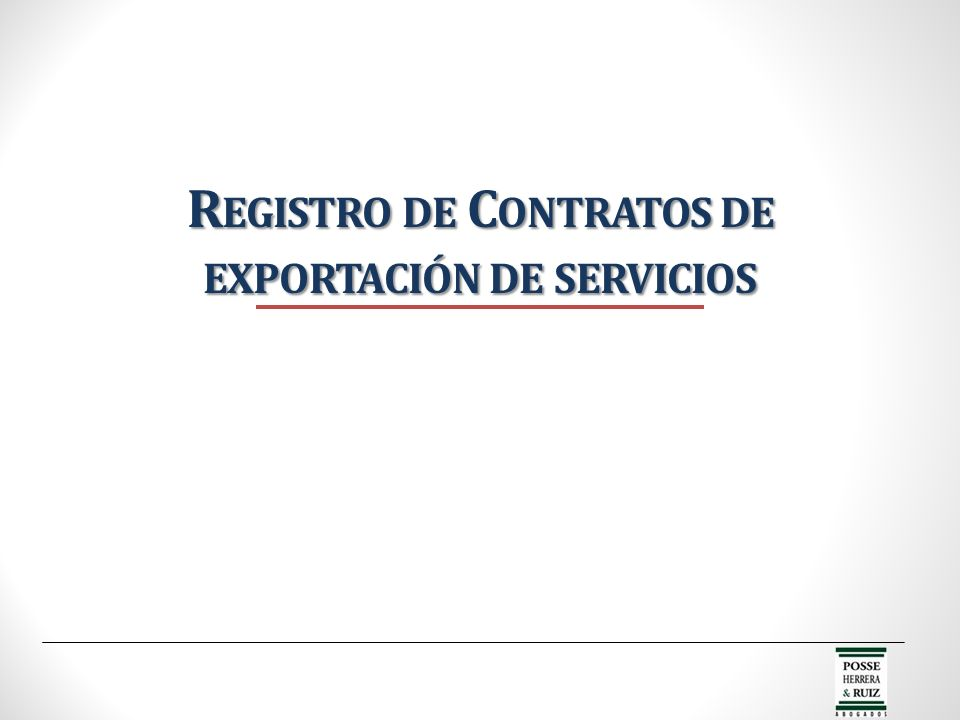 Registro de Contratos de exportación de servicios