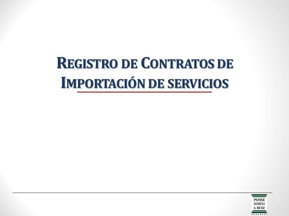 Registro de Contratos de Importación de servicios