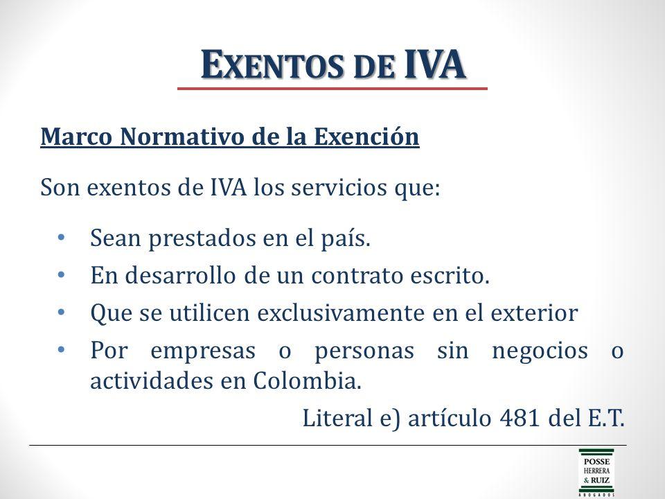 Exentos de IVA Marco Normativo de la Exención
