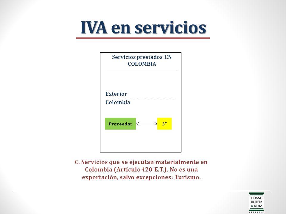 Servicios prestados EN COLOMBIA
