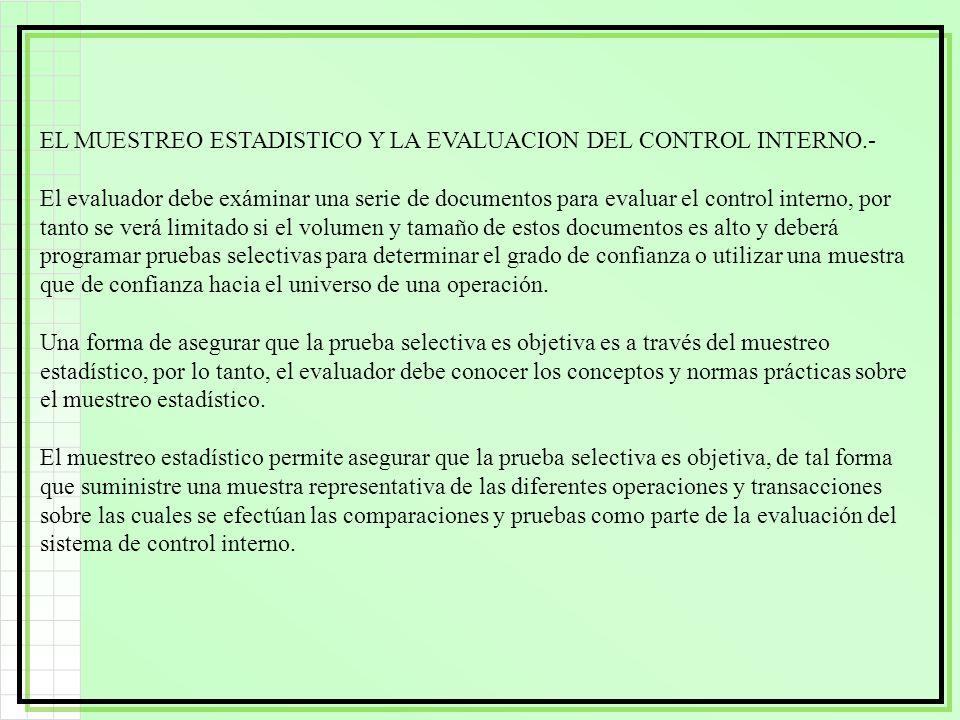 EL MUESTREO ESTADISTICO Y LA EVALUACION DEL CONTROL INTERNO.-