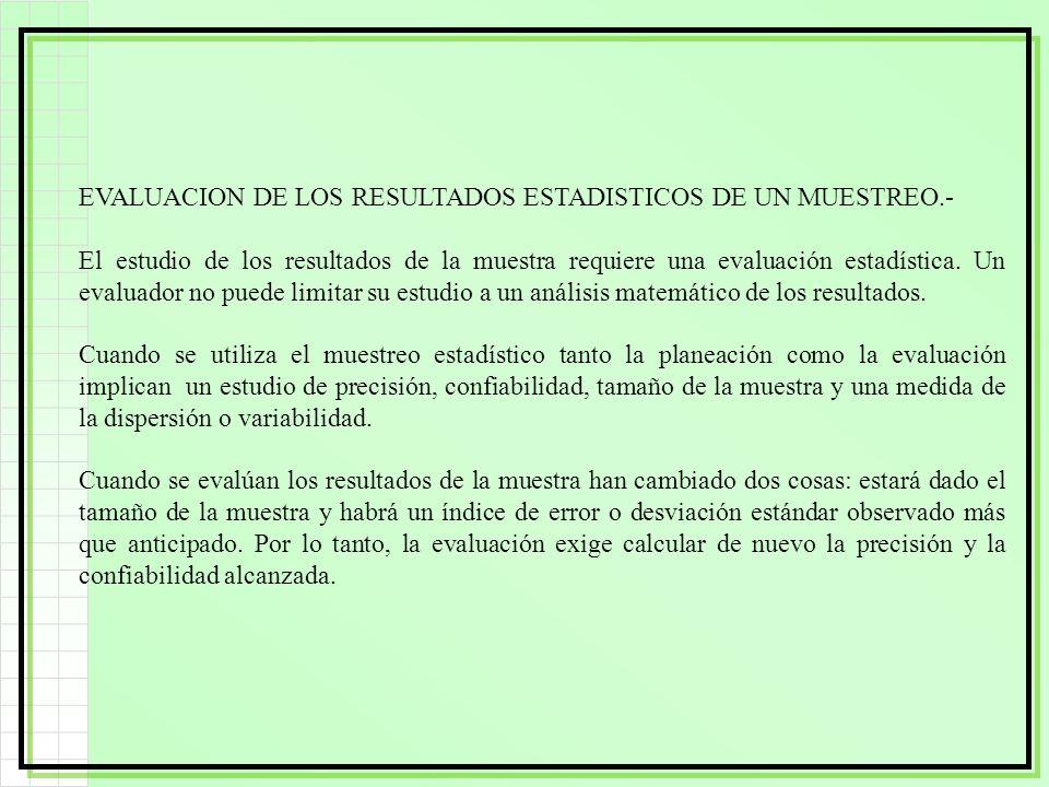 EVALUACION DE LOS RESULTADOS ESTADISTICOS DE UN MUESTREO.-