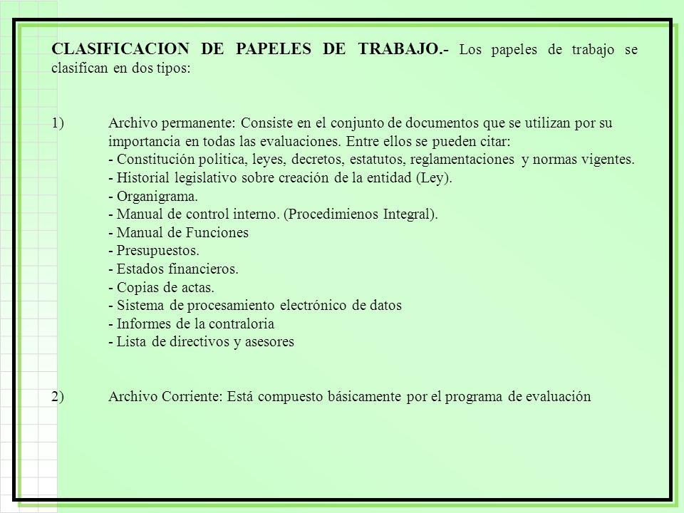CLASIFICACION DE PAPELES DE TRABAJO