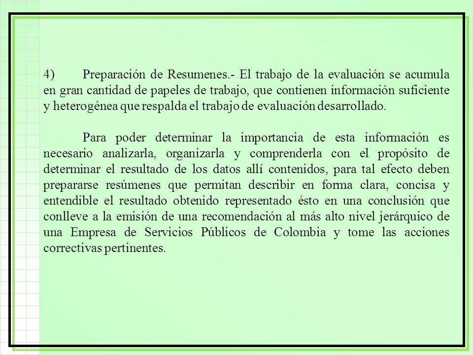 4). Preparación de Resumenes