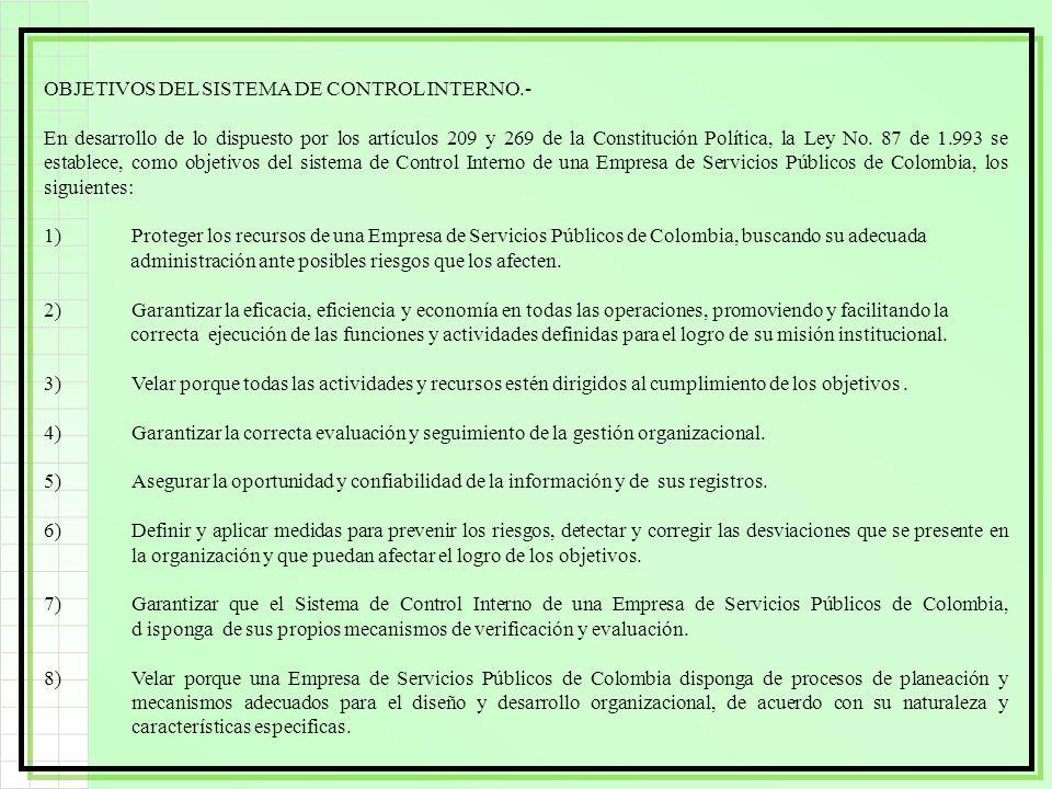 OBJETIVOS DEL SISTEMA DE CONTROL INTERNO.-