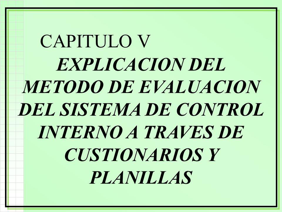 CAPITULO V EXPLICACION DEL METODO DE EVALUACION DEL SISTEMA DE CONTROL INTERNO A TRAVES DE CUSTIONARIOS Y PLANILLAS.