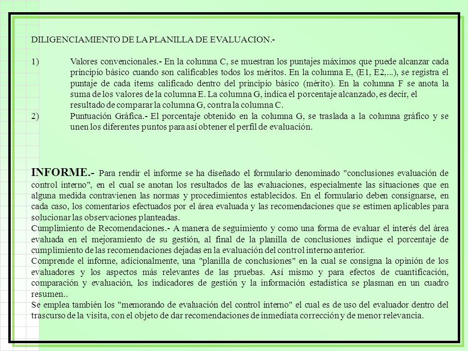 DILIGENCIAMIENTO DE LA PLANILLA DE EVALUACION.-