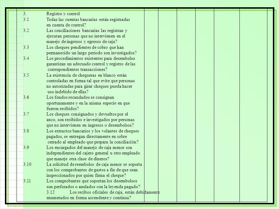 3. Registro y control 3.1 Todas las cuentas bancarias están registradas. en cuenta de control 3.2 Las conciliaciones bancarias las registran y.