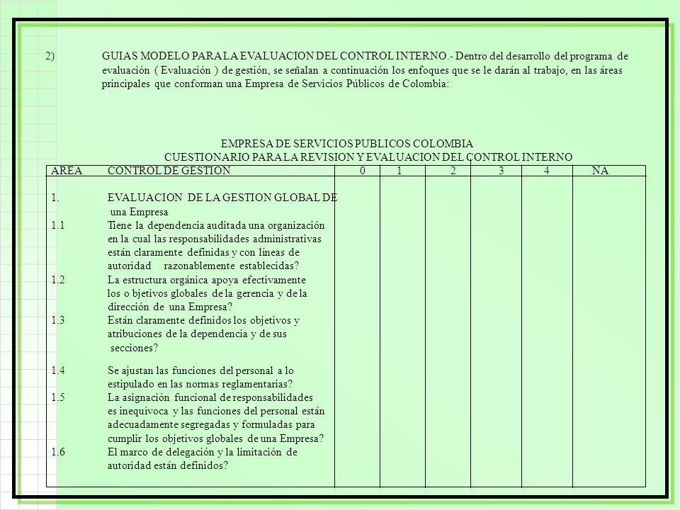 2). GUIAS MODELO PARA LA EVALUACION DEL CONTROL INTERNO