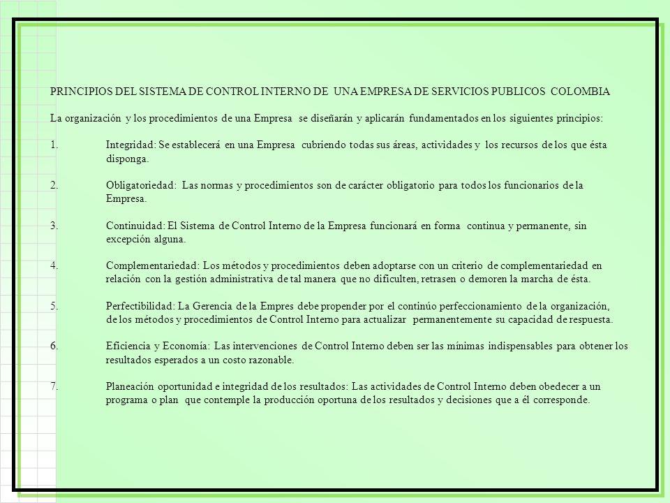 PRINCIPIOS DEL SISTEMA DE CONTROL INTERNO DE UNA EMPRESA DE SERVICIOS PUBLICOS COLOMBIA