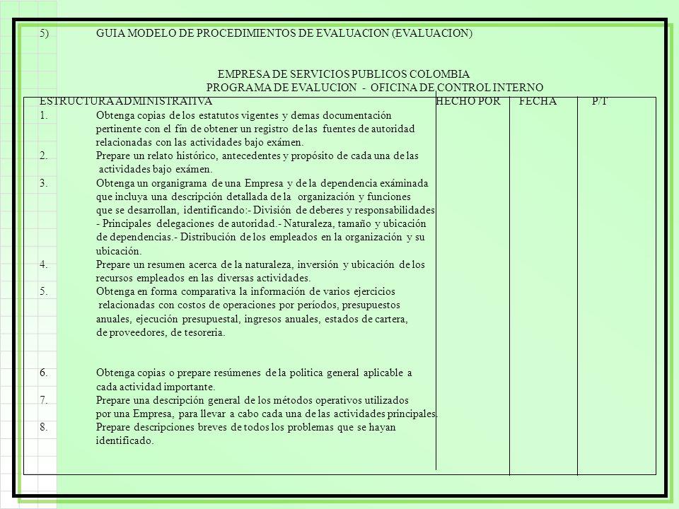 5) GUIA MODELO DE PROCEDIMIENTOS DE EVALUACION (EVALUACION)