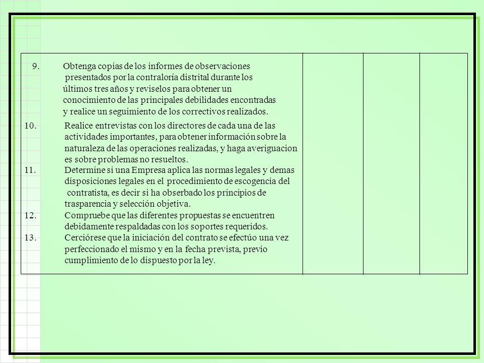 9. Obtenga copias de los informes de observaciones
