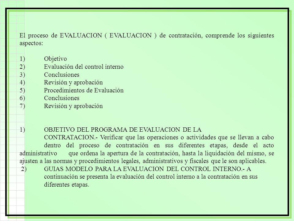 El proceso de EVALUACION ( EVALUACION ) de contratación, comprende los siguientes aspectos: