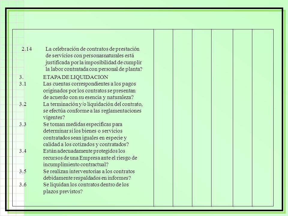 2.14 La celebración de contratos de prestación