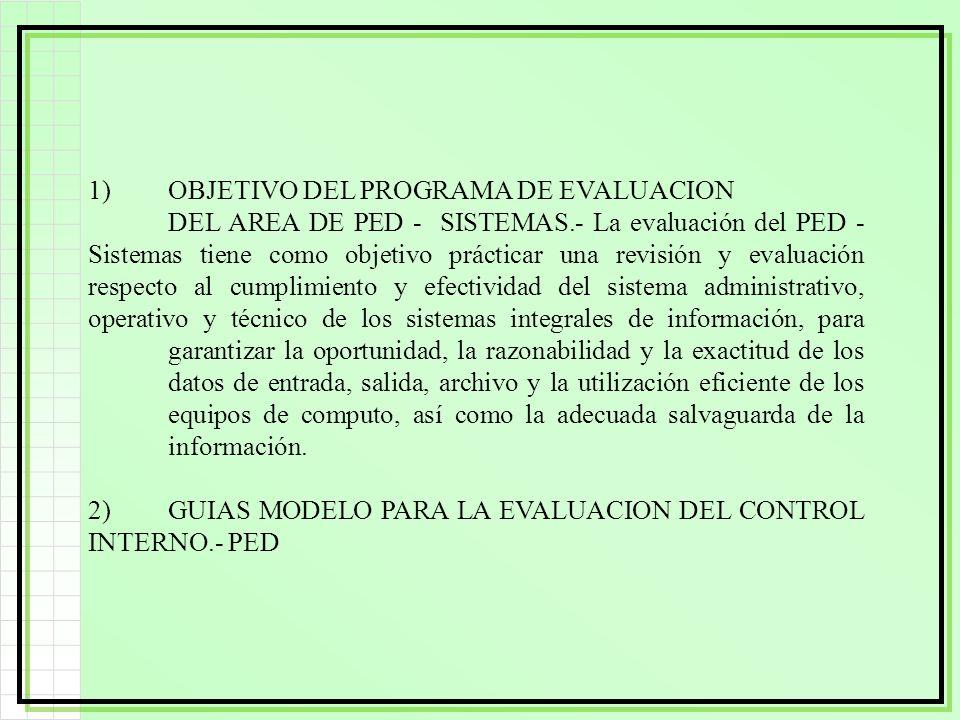 1). OBJETIVO DEL PROGRAMA DE EVALUACION. DEL AREA DE PED - SISTEMAS