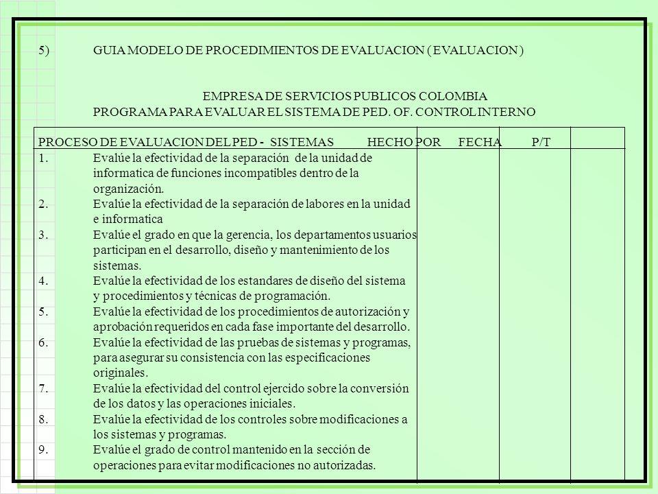 5) GUIA MODELO DE PROCEDIMIENTOS DE EVALUACION ( EVALUACION )