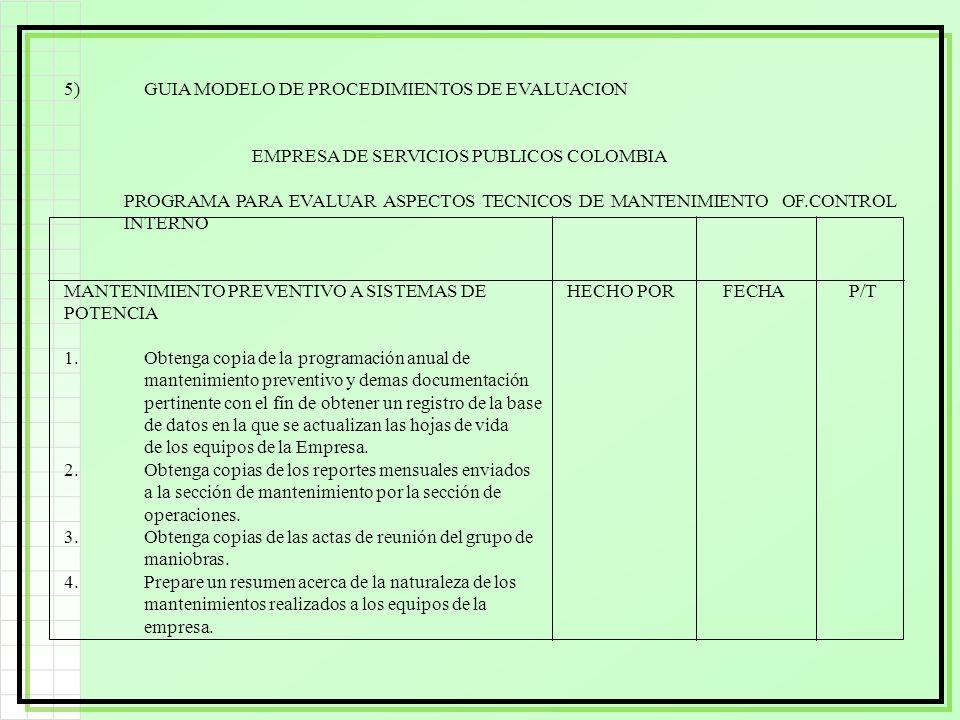 5) GUIA MODELO DE PROCEDIMIENTOS DE EVALUACION