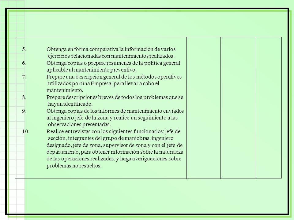 5. Obtenga en forma comparativa la información de varios