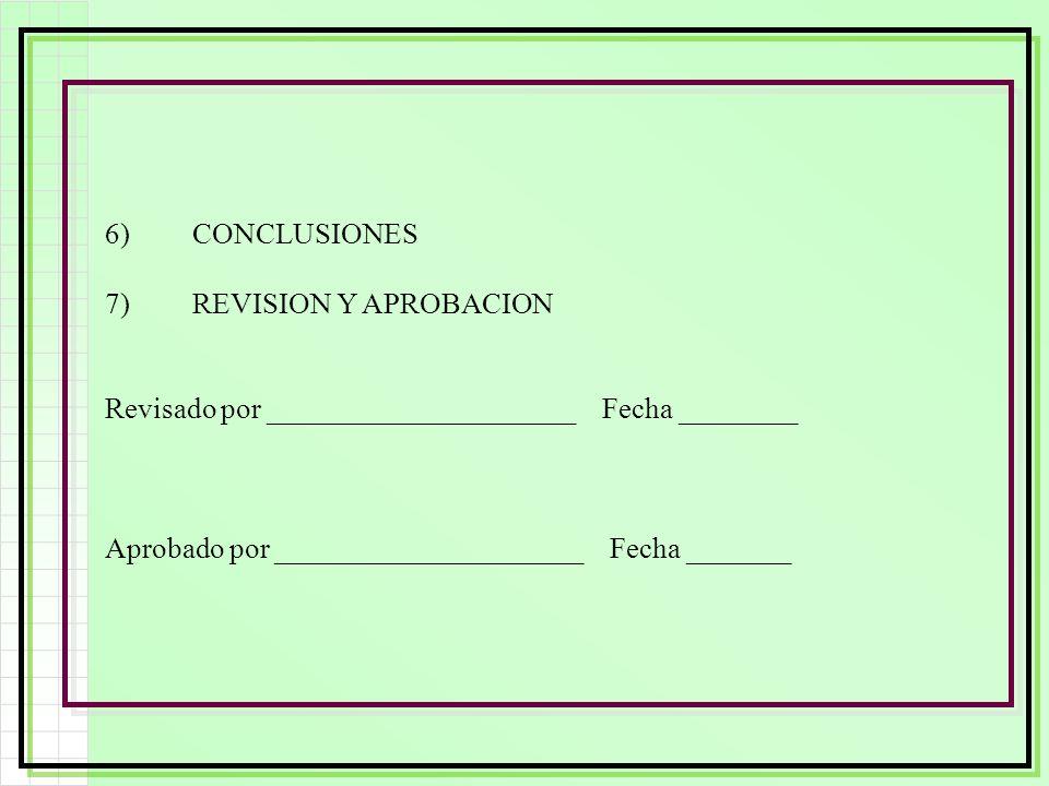 6) CONCLUSIONES 7) REVISION Y APROBACION. Revisado por _____________________ Fecha ________.