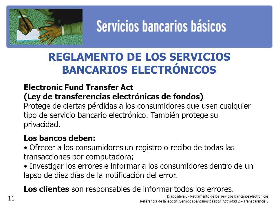 REGLAMENTO DE LOS SERVICIOS BANCARIOS ELECTRÓNICOS