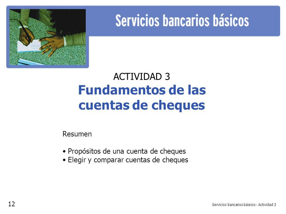 Servicios bancarios básicos - Actividad 3