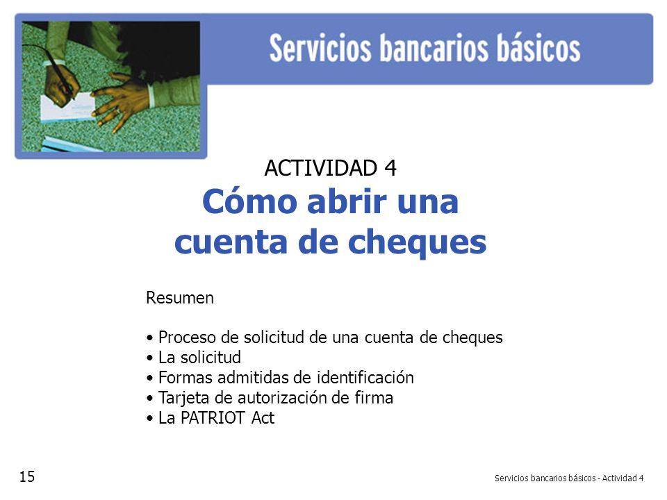 Servicios bancarios básicos - Actividad 4