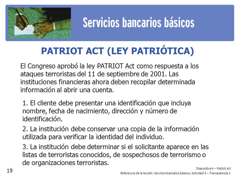 PATRIOT ACT (LEY PATRIÓTICA)