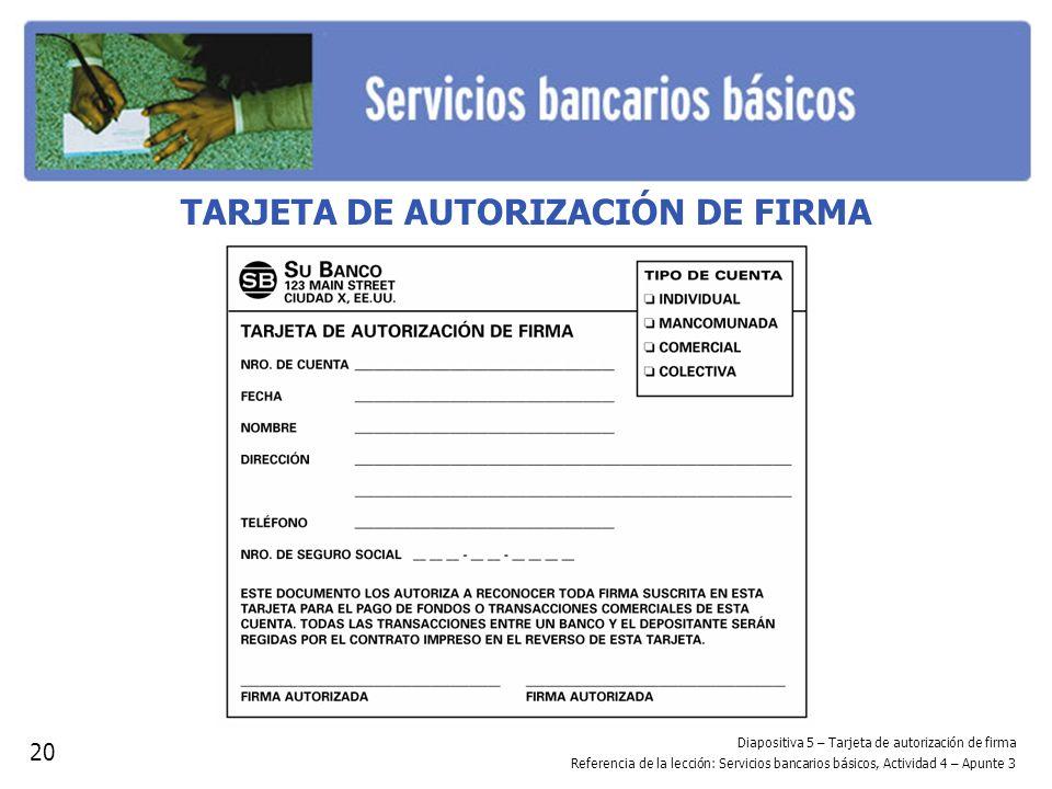 TARJETA DE AUTORIZACIÓN DE FIRMA