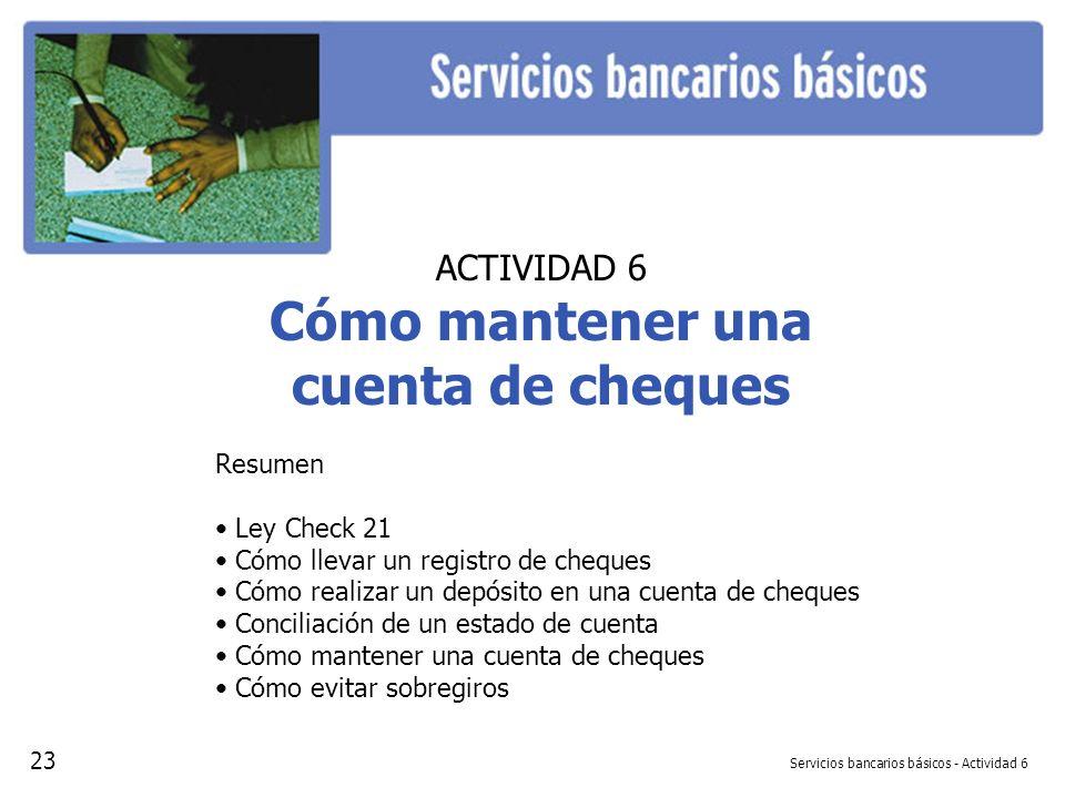 Servicios bancarios básicos - Actividad 6