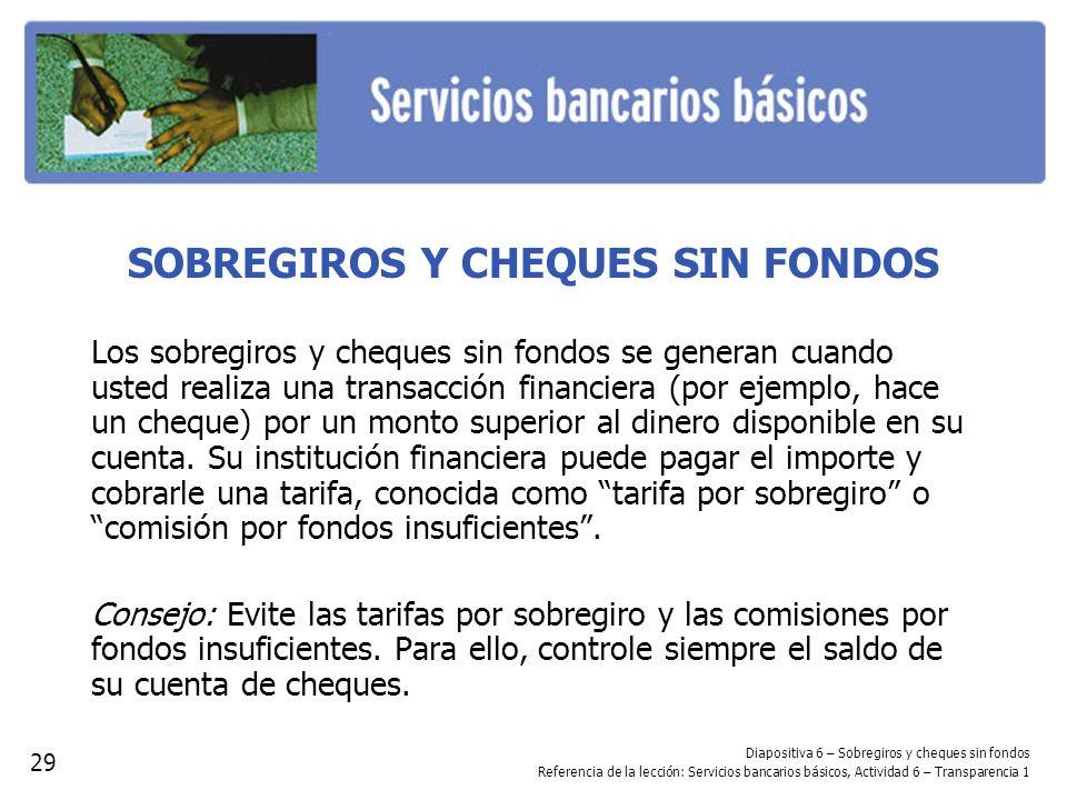 SOBREGIROS Y CHEQUES SIN FONDOS