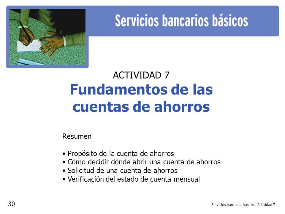 Servicios bancarios básicos - Actividad 7