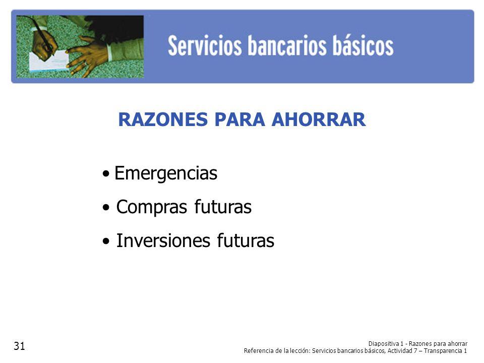RAZONES PARA AHORRAR • Emergencias • Compras futuras
