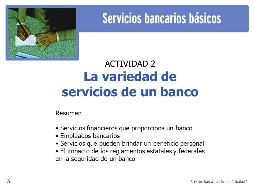 Servicios bancarios básicos - Actividad 2