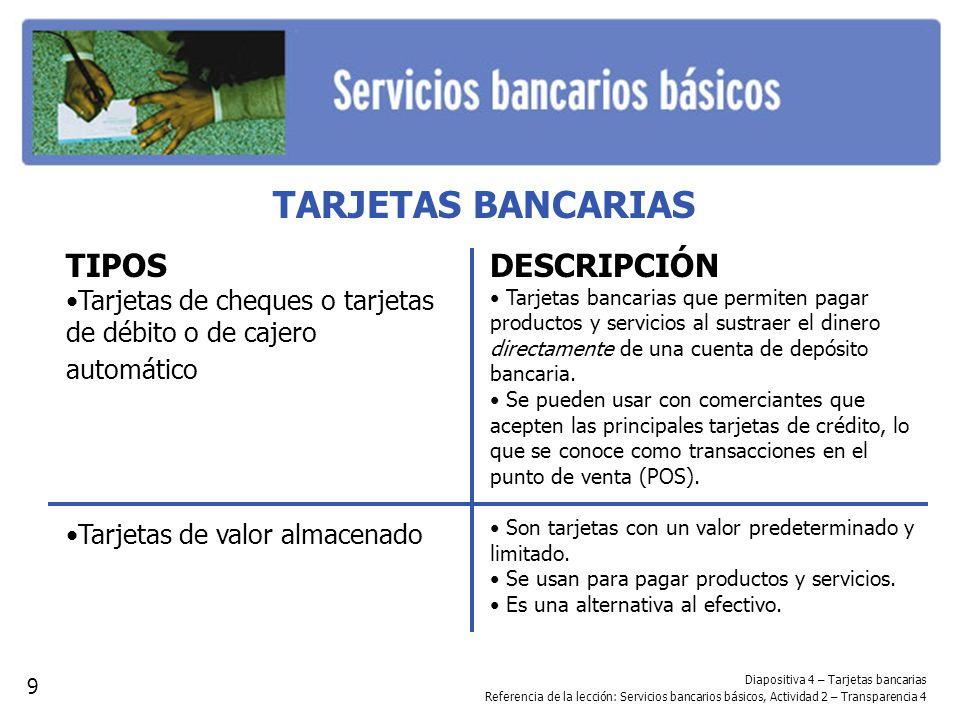 TARJETAS BANCARIAS TIPOS DESCRIPCIÓN