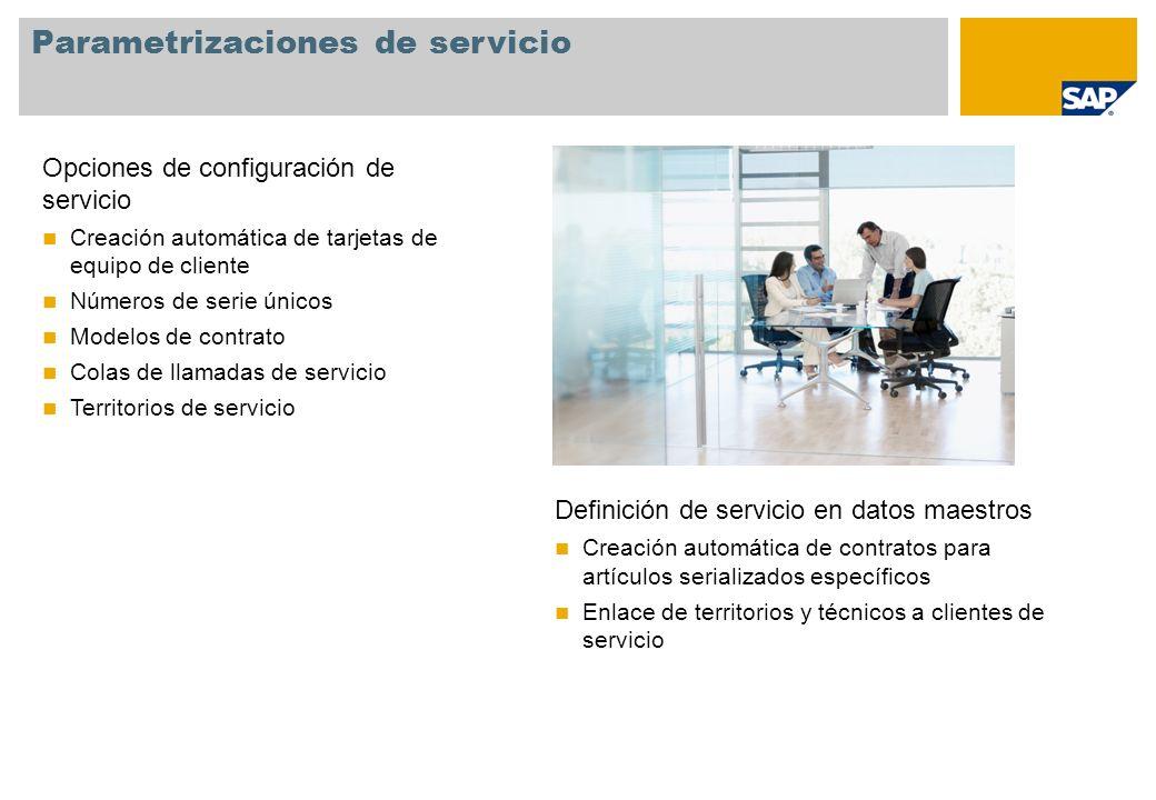 Parametrizaciones de servicio