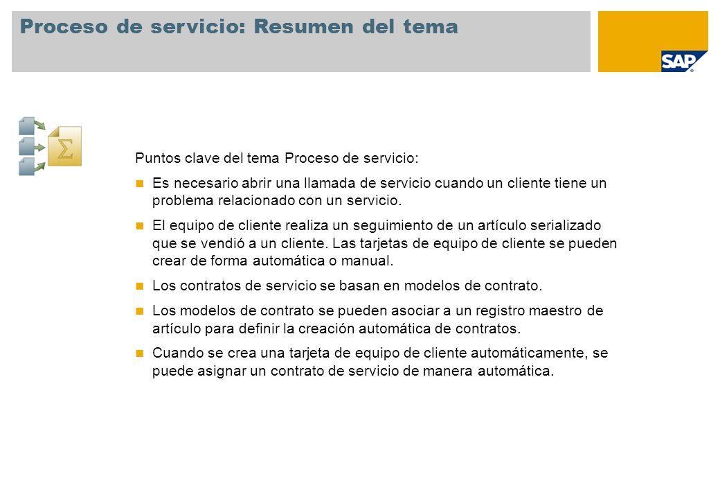 Proceso de servicio: Resumen del tema
