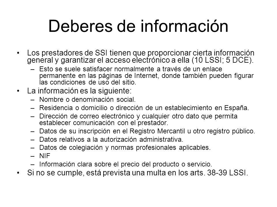 Deberes de información