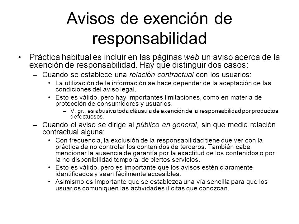 Avisos de exención de responsabilidad