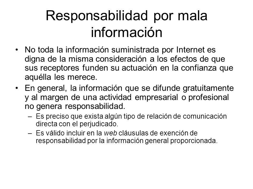 Responsabilidad por mala información
