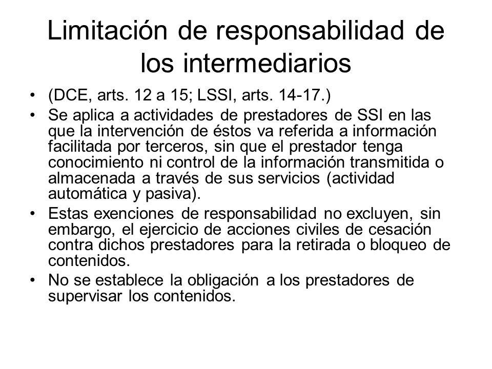 Limitación de responsabilidad de los intermediarios