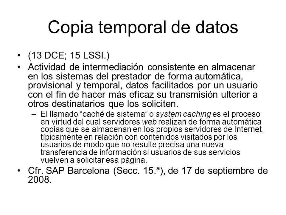 Copia temporal de datos