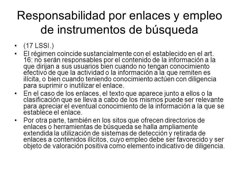 Responsabilidad por enlaces y empleo de instrumentos de búsqueda